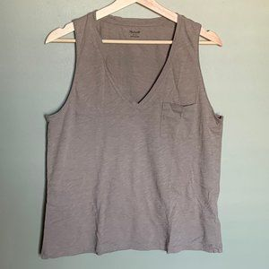 Madewell tan v neck pocket tank top sized large